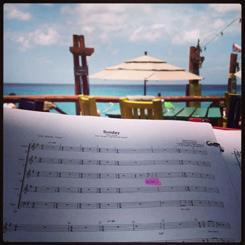 My duties with Marquee Five didn't end on board...in fact, I brought my music to learn in the sun!
